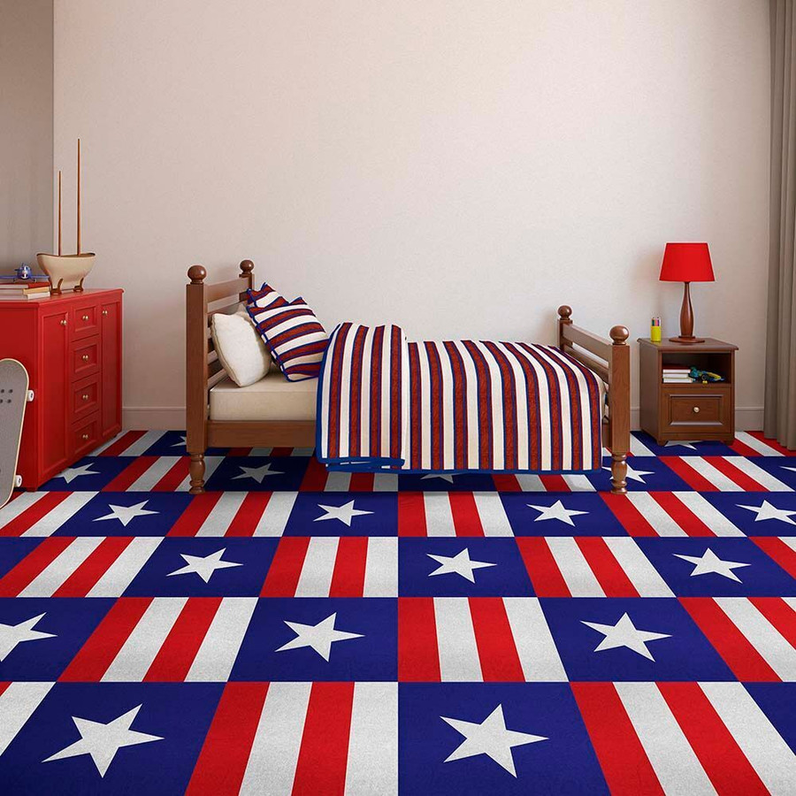 Perfection Floor Tile Custom Prints Americana Stars and Stripes in a bed room