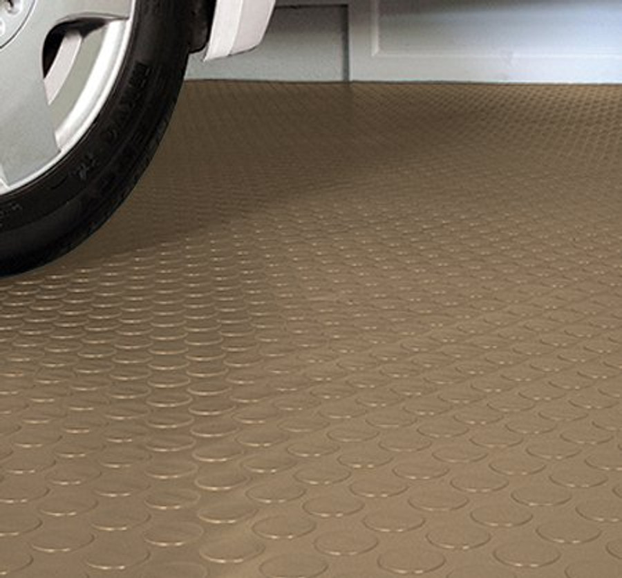 G Floor Sandstone Tan Coin Pattern in a garage made by Better Life Technologies
