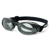 Metallic Black Pet Dog Sunglasses Doggles ILS with Light Smoke Lens