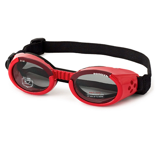 Shiny Red Pet Dog Sunglasses Doggles ILS with Light Smoke Lens