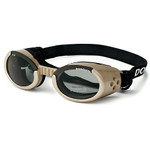 Chrome Pet Dog Sunglasses Doggles ILS with Light Smoke Lens