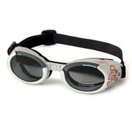 Silver Skull Pet Dog Sunglasses Doggles ILS with Light Smoke Lens
