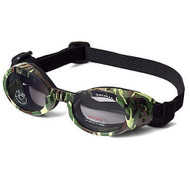 Green Camo Pet Dog Sunglasses Doggles ILS with Light Smoke Lens