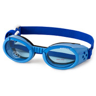 Shiny Blue Pet Dog Sunglasses Doggles ILS with Light Blue Lens