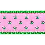 Green Paw on Pink Dog Collars