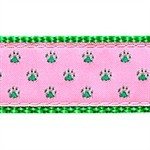 Green Paw on Pink 3/4 & 1.25 inch Dog Collar, Harness, Lead & Acc