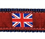 British Flag on Red Dog Collars