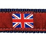 British Flag on Red 1.25 inch Dog Collar, Harness, Lead & Accessories
