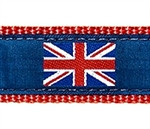British Flag on Navy Dog Collars