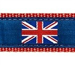 British Flag on Navy 1.25 inch Dog Collar, Harness, Lead & Accessories