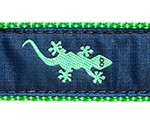 Green Gecko on Navy Dog Collars
