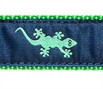 Green Gecko on Navy 3/4 & 1.25 inch Dog Collar, Harness, Lead & Accessories