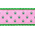 Green Paws on Pink Dog Collars