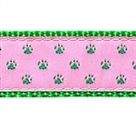 Green Paws on Pink 1/2, 3/4 & 1.25 inch Dog & Cat Collar, Harness, Lead & Accessories