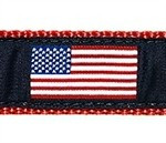 American Flag 3/4 & 1.25 inch Dog Collar, Harness, Lead & Acc