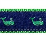 Whales Green On Navy 1/2, 3/4 & 1.25 inch Dog & Cat Collar, Harness, Lead & Accessories