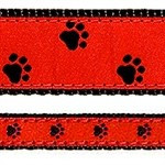 Black Paw on Red 1/2, 3/4 & 1.25 inch Dog & Cat Collar, Harness, Lead & Acc