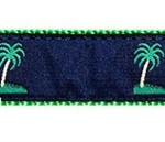 Blue Palm Tree 1.25 inch Dog Collar, Harness, Lead & Accessories