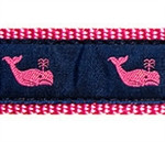 Whales Pink On Navy Dog Collars