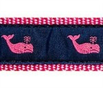 Whales Pink On Navy 1/2, 3/4 & 1.25 inch Dog & Cat Collar, Harness, Lead & Accessories
