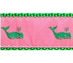 Whales Kelly Green on Pink Dog Collars