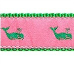 Whales Kelly Green on Pink 1/2, 3/4 & 1.25 inch Dog & Cat Collar, Harness, Lead & Accessories