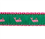 Whales Pink on Kelly Green Dog Collars