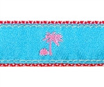 Turquoise Palm Tree on Pink Dog Collars