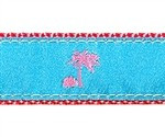 Turquoise Palm Tree 1/2, 3/4 & 1.25 inch Dog & Cat Collar, Harness, Lead & Accessories