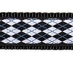 Black & White Argyle - 1/2, 3/4 & 1.25 inch Dog & Cat Collar, Harness, Lead & Accessories