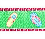 Green Flip Flop 3/4 & 1.25 inch Dog Collar, Harness, Lead & Acc.