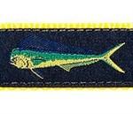 Navy Mahi Mahi 3/4 & 1.25 inch Dog Collar, Harness, Lead & Acc.