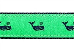 Whales Navy on Kelly Green Dog Collars