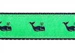 Whales Navy on Kelly Green 1/2, 3/4 & 1.25 inch Dog & Cat Collar, Harness, Lead & Accessories