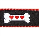 Heart Dog Bone 1/2, 3/4 & 1.25 inch Dog & Cat Collar, Harness, Lead & Accessories