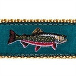 Teal Brook Trout 1.25 inch Dog Collar, Harness, Lead & Accessories