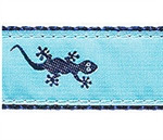 Navy Gecko on Teal Dog Collars