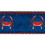Red Crab on Navy Dog Collars