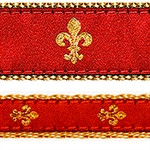 Red Fleur de Lis Dog Collars