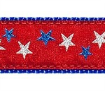 Red Patriotic Stars 1/2, 3/4 & 1.25 inch Dog & Cat Collar, Harness, Lead & Accessories