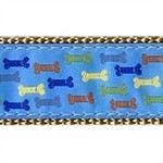 Blue Multi Colored Bones Dog Collars