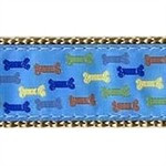 Blue Multi Colored Bones 3/4 & 1.25 inch Dog Collar, Harness, Lead & Acc