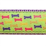 Green Multi Colored Bones Dog Collars