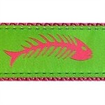 Fishbones Pink & Green 1/2, 3/4 & 1.25 inch Dog & Cat Collar, Harness, Lead & Accessories