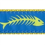Fishbones Yellow & Blue Dog Collars