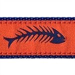 Fishbones Orange &l Blue Dog Collars