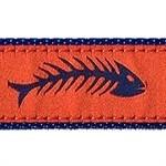 Fishbones Orange & Blue 1/2, 3/4 & 1.25 inch Dog & Cat Collar, Harness, Lead & Accessories