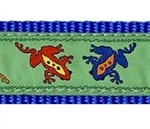 Ribbit, Colorful Frogs Dog Collars