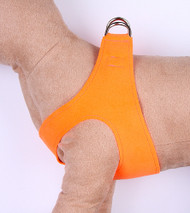 Plain Ultrasuede Pet Dog Step In Harness - Electric Orange by Susan Lanci Designs