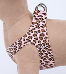 Pink Cheetah Plain Ultrasuede Pet Dog Step In Harnesses  by Susan Lanci Designs